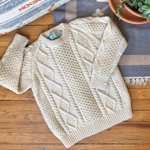 Vintage Irish Wool Chunky Cable Knit Sweater